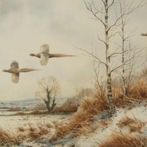 X (SOLD) Pheasants in a Winter Landscape