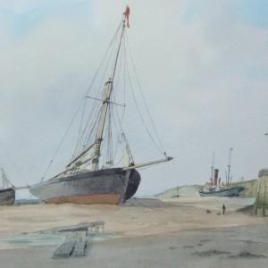 Fishing Smacks & Steam Tug at Low Tide