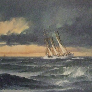 Schooner in Heavy Seas
