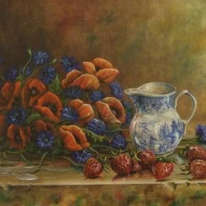 Poppies, Cornflowers and Strawberries