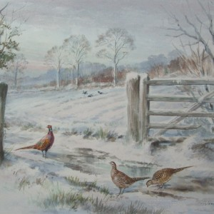 X (SOLD) Pheasants by a Gate