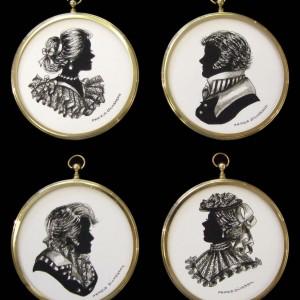 Edwardian Elegance Silhouette Heads in Gold Circular Frames