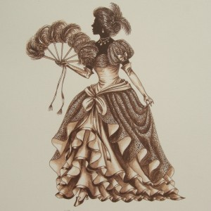 "Edwardian Elegance Silhouette ""Lady with Fan"" (Sepia)"