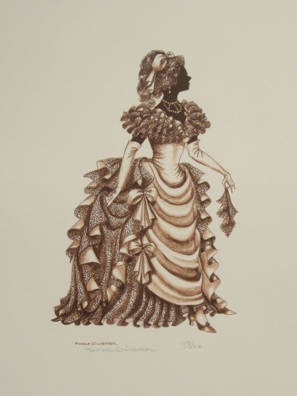 "Edwardian Elegance Silhouette  ""Lady with Handkerchief"" (Sepia)"