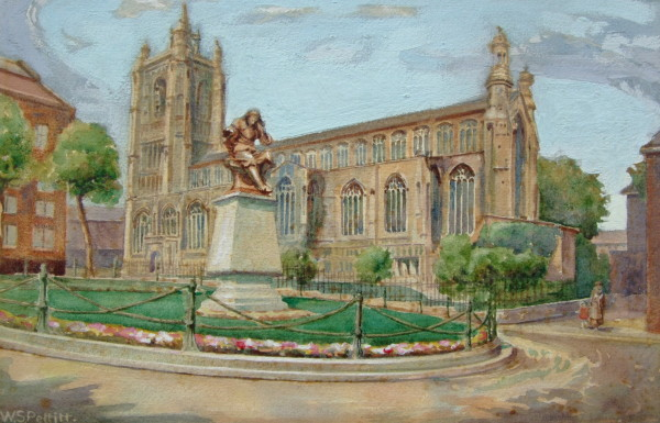 St Peter Mancroft (Sir Thomas Browne Statue on Hay Hill, Norwich)