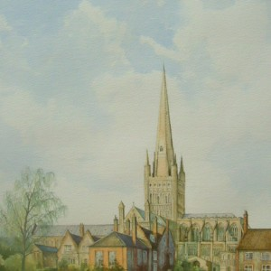 X (SOLD) Norwich Cathedral from the Green,  Tim Ball