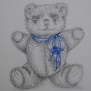X02 (SOLD) Bear with blue ribbon