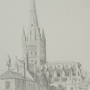 X01 (SOLD) Norwich Cathedral – Pencil drawing