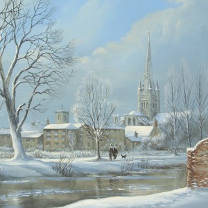 X (SOLD) Norwich in Winter across the river Wensum