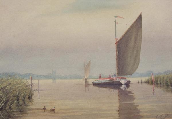 A Misty Morn, Wherries on Barton Broad