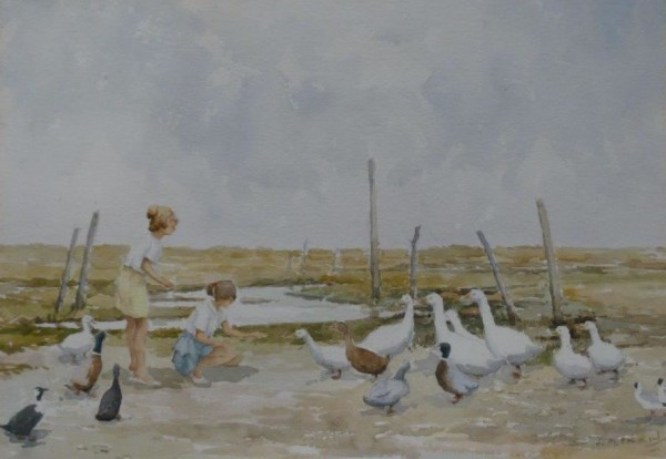X (SOLD) Feeding the Ducks (possibly at Salthouse, Norfolk?)