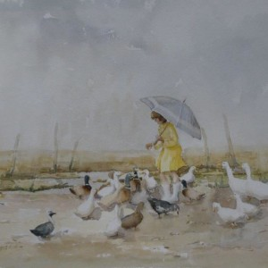 X (SOLD) Feeding the Ducks in the rain, (possibly at Salthouse, Norfolk?)