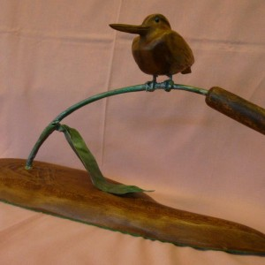X (SOLD) Kingfisher on Green Bull Rush stem (Lace wood Cherry)