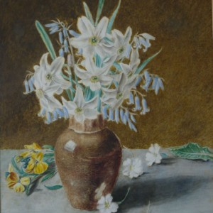 X (SOLD) Spring Flowers in a Brown Vase