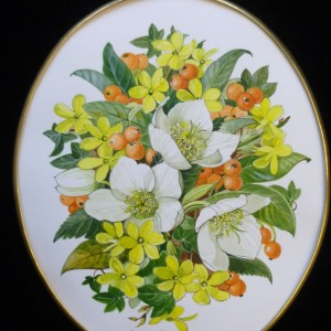Oval Frame Mixed Flowers
