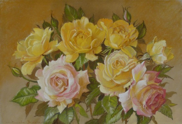 A Spray of Yellow and Pink Roses