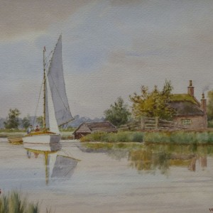 X (SOLD) Nearing Acle Bridge (Christmas Inscription on painting 1946)