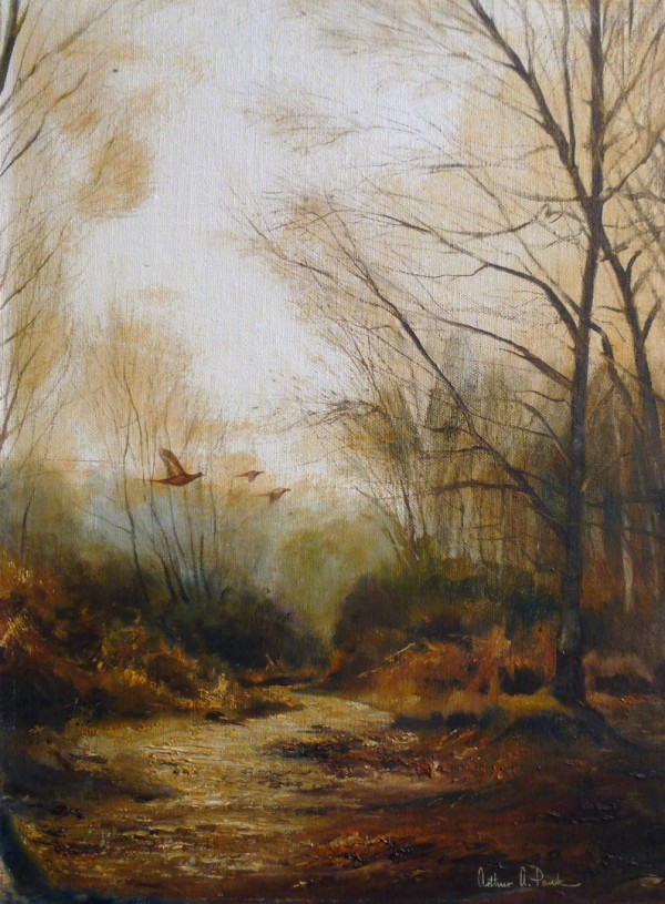 X (SOLD) Winter Pheasants in flight