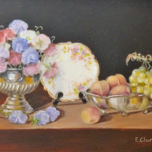 X (SOLD) Sweet Peas, Peaches, Grapes and China Plate