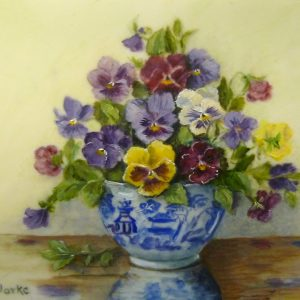 X (SOLD) Pansies in Willow Pattern Bowl