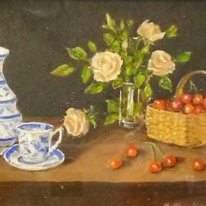 This miniature was painted in 2017 when the artist was in her 98th year  – Blue China, Cream Roses with Cherries
