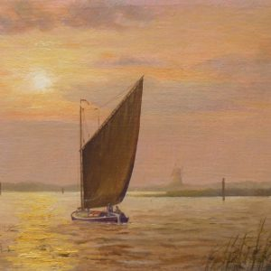 X (SOLD) Broadland Sunset with Wherry