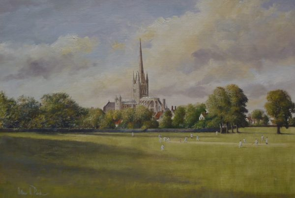 X (SOLD)  Norwich Cathedral from the School Playing Fields