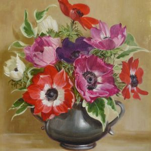 Anemones in Pewter Jug