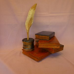 Desk Books, Ink Pot and Quill (Books and Ink Pot-Cedar, Quill-Yew)