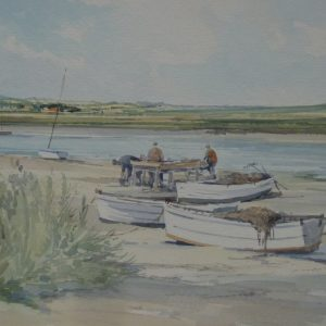 X (SOLD) Fishermen on the Creek, Blakeney 1981