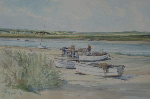 X (SOLD) Fishermen on the Creek, Blakeney 1981
